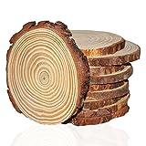 Kurtzy 10er-Set aus 10-11cm Runde Naturholz Baumscheiben Baumstamm Scheiben - Rustikale Holzscheiben Rohlinge mit Rinde und Glatter Oberfläche - Ca.10mm Dicke - Astscheiben für DIY Handwerke, Dekorationen und zum Basteln - Holz Deko