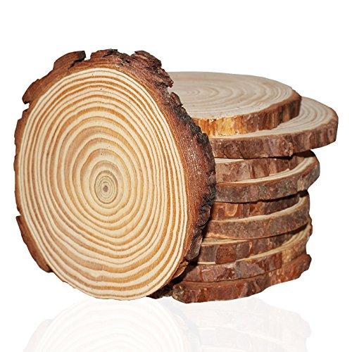 Runde Naturholz Baumscheiben Baumstamm Scheiben - Rustikale Holzscheiben Rohlinge mit Rinde und Glatter Oberfläche - Ca.10mm Dicke - Dekorationen und zum Basteln - Holz Deko ()