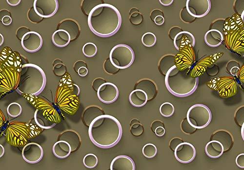 te Gelb Schmetterlinge braun weiss Ringe L 300 x 210 cm - 6 Teile Tapete, Vliestapete, Fototapeten, Wandbild, Motiv-Tapeten 3D Effekt Kreise M4015 ()