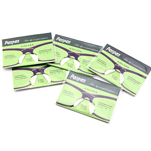 Owfeel Anti-Rutsch-Brillen-Nasenbügel-Pads, 2,5mm, Silikon, zum Aufkleben, Weiß, 5Paar