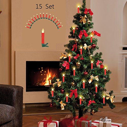 Kabellose LED Weihnachts-Baum-Beleuchtung Kerzenzauber Deluxe kabellos mit Timer 15er-Set Fernbedienung Christbaum-Beleuchtung (Weihnachts-Rot)