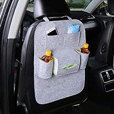 Autofy Universal 7 Pocket Car Auto Seat Back Organizer Back Seat Organiser Mobile Pen Tissue Lunch Box Holder Multi Pocket Storage Hanger for All Cars (Grey)