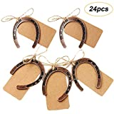 Amajoy 24PCS rame Lucky Horseshoes con Kraft tag Rustic wedding Favors party favor vintage wedding Decorations