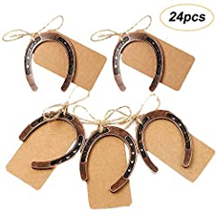 Idea Regalo - Amajoy 24PCS rame Lucky Horseshoes con Kraft tag Rustic wedding Favors party favor vintage wedding Decorations