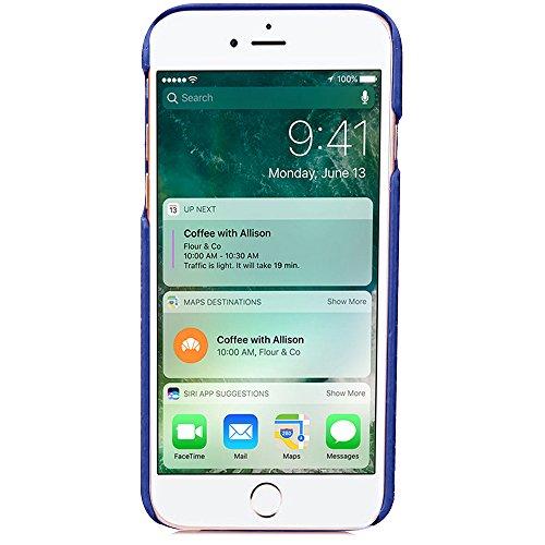Voguecase® für Apple iPhone 7 4.7 hülle, (Karte/Scale Muster-Lila) Hybrid Hülle Schutzhülle Case Cover + Gratis Universal Eingabestift Karte/Diamant Rhombus-Blau