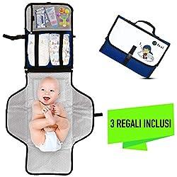Fasciatoio Portatile Pieghevole - UFEEL - Idea Regalo Neonato - Kit per Cambio Pannolini - Borsa Fasciatoio da Viaggio per Bambini - Cambia il Pannolino Ovunque - Materassino Totalmente Imbottito