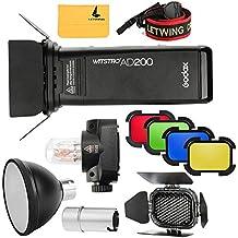 Godox 2,4TTL HSS dos jefes AD200200W Flash + Flash bombilla Protector Cover + ad-s2reflector + BD-07puerta del establo con kit de filtros de color para cámaras Nikon