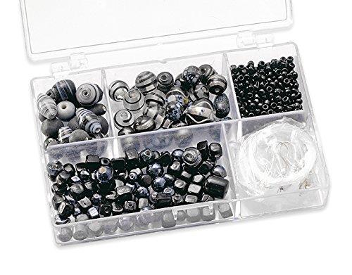 Gütermann / KnorrPrandell 6049610 - Caja con Perlas de Cristal para bisutería (tamaños Surtidos), Color Negro Importado de Alemania