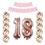 Decorazioni di compleanno Banner di buon compleanno e 10 pezzi 12 pollici di coriandoli di pallini di oro rosa Palloncini di partito (i coriandoli sono stati messi nei palloncini) per le decorazioni delle feste di compleanno (18th)