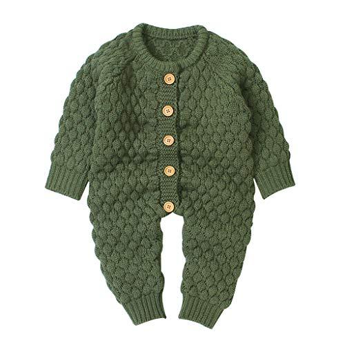 Livoral Neugeborenes Baby Mädchen Winter Knopf Pullover Strickoverall Strampler Warme Outfits(Armeegrün,3-6 Monate)