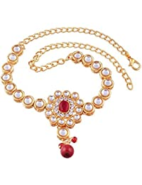 I Jewels Gold Plated Kundan Bajubandh Jewellery Set for Women (PB05R)