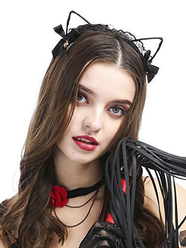 fxmimior Halloween Ohren Lace Hot Cat Bow Bell mit Kopfbedeckungen Stirnband Schwarz Halloween Kopfbedeckung Haar accessoriescostume Frauen Mädchen (Teen Halloween-kostüme Hot)