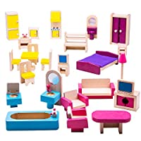 Bigjigs Toys Heritage Playset Wooden Doll Furniture Set - Dollhouse Accessories