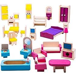 Bigjigs Toys Boîte de Jeu Patrimoine Lot de Meubles pour Maison de poupée