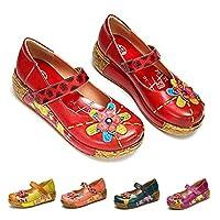gracosy Wedges Sandals Women Sandals Summer Leather Handmade Colorful Flower Vintage Slip-on Shoes Platform Sandals Comfortable Dancing Ballet Casual Loafers Outdoor Slipper C-Red 5 UK