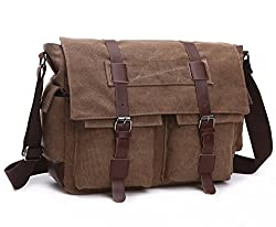 Baosha Ms-06 Vintage Military Men's Canvas Leather Messenger Bag Casual Cross Body Travel Shoulder Bags Satchel School Laptop Bag For 15 Inch Laptop Briefcase (Coffee)