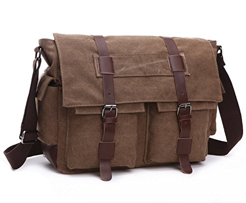 - 51CJNVaIvBL - BAOSHA MS-06 Vintage Military Men's Canvas Leather Messenger Bag Casual Cross Body Travel Shoulder Bags Satchel School Laptop Bag for 15 inch Laptop Briefcase (Coffee)