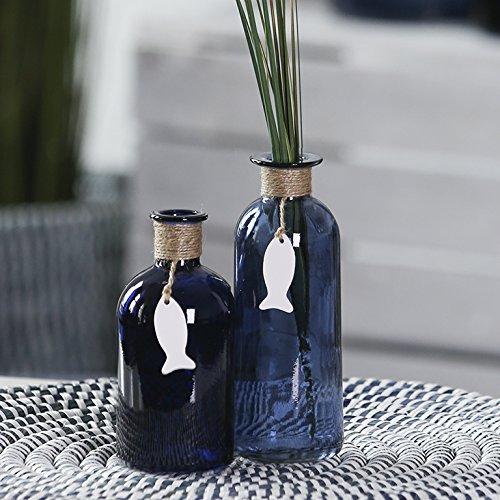 1 x Vase Mauritius Glas Tischdeko, Blume, Geschenk Dekoration Fisch Flaschenvase