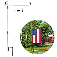 """Tinabless Garden Flag Stand, Garden Flag Stand-Holder-Pole with Garden Flag Stopper and Anti-Wind Clip, 33"""" H x 16"""" W for USA Flag Or Season Garden Flags (Without Flag)"""