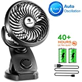 Ultra Quiet USB Desk Cooling Fans - Double Power Clip Fan Oscillating, USB Powered and Portable with Rechargeable 4400mA Battery, Ideal for Stroller Pushchair, Desktop, Bed, Office and Outdoor Travel