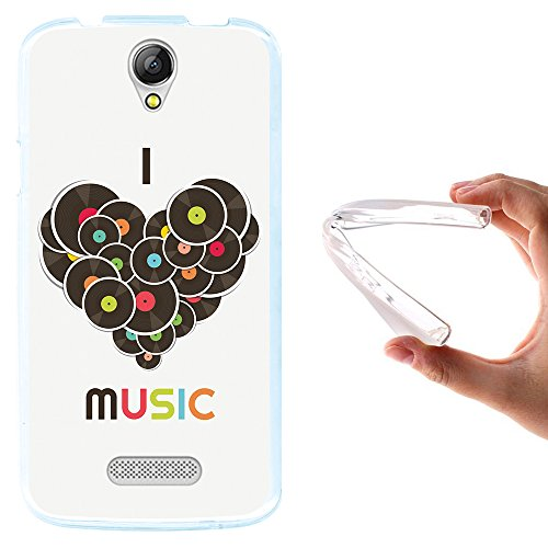 WoowCase Doogee X6 - X6 Pro Hülle, Handyhülle Silikon für [ Doogee X6 - X6 Pro ] Ich Liebe Musik Handytasche Handy Cover Case Schutzhülle Flexible TPU - Transparent