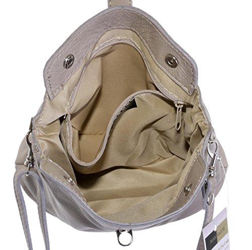 Vero cuoio italiano morbido o effetto struzzo, attraversare il piccolo corpo o spalla borsetta.Include una custodia protettiva marca In pelle Light Beige - Soft