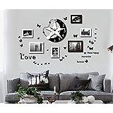 NAUY- Reloj de pared de la personalidad creativa Reloj con estilo Reloj de la pared de la foto Moderno marco de la foto Foto de la pared Mute Dormitorio colgante reloj Creative marco de la foto Combinación DIY Decoración