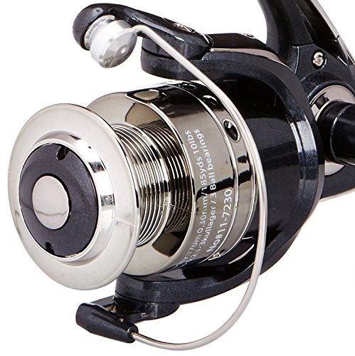 Fladen Secret eaux RD 330& 440(3BB) Double poignée à bobine fixe Moulinet à frein arrière avec bobine de rechange–Idéal pour lumière de surf Leurre, et tourne noir Noir RD 330
