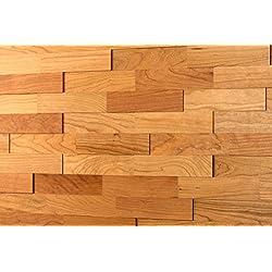 Wodewa Cerezo - Madera auténtica para paneles de pared madera, revestimiento de paredes interiores (apariencia 3D, 200 x 50 cm)