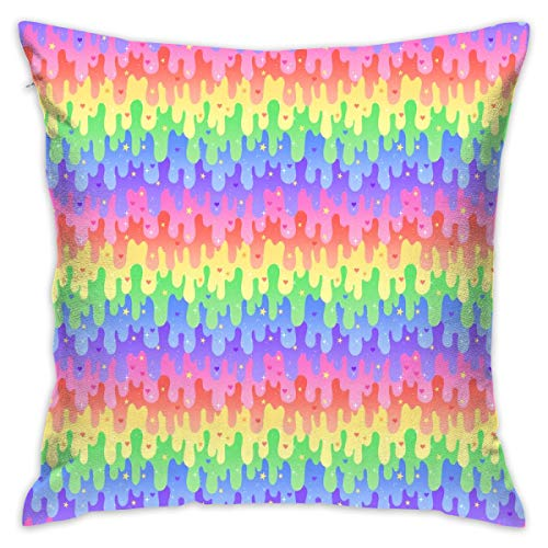 Mabell Beautifully Decorated Home Rainbow Slime 12 Size Throw Pillow Case 18X18 Inches