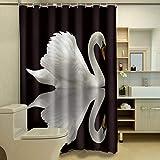 YLIAN Polyester Duschvorhang Art Swan Cutoff Vorhang wasserdicht Persönlichkeit Duschvorhang Foto Duschvorhang,65x71inch