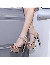 XiaoGao talon le fond creux épais - 14 centimètres de talon court bottes,black