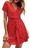 SPec4Y Damen Kleider V Ausschnitt Punkte Sommerkleid Rüschen Kurzarm Minikleid Strandkleid mit Gürtel Rot XL