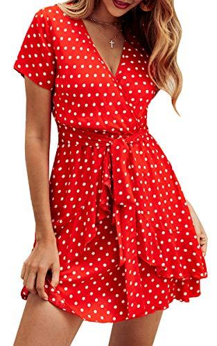 V Ausschnitt Punkte Sommerkleid Rüschen Kurzarm Minikleid Strandkleid mit Gürtel Rot M ()