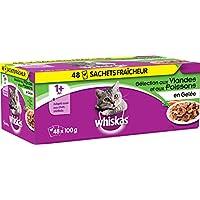 WHISKAS - Sachets fraîcheur aux viandes et aux poissons en gelée pour chat 1 avec 48x100g