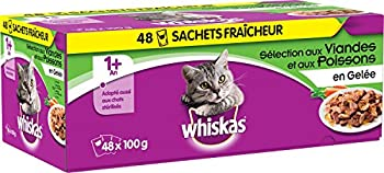 WHISKAS - Sachets fraîcheur aux viandes et aux poissons en gelée pour chat 1+ 48x100g