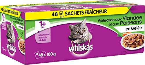 WHISKAS - Sachets fraîcheur aux viandes et aux poissons en gelée pour chat  1 avec 48x100g 08b99c90b201