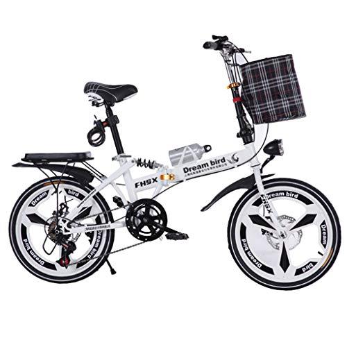 Vélos pliants Vélo Pliant Freins À Disque De 20 Pouces D'absorption des Chocs Unisexe Ultra-léger Portable Pliant Vélo (Color : Blanc, Size : 150 * 35 * 110cm)