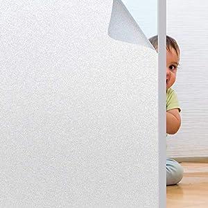 Rwest X Fensterfolie|Sichtschutzfolie|Milchglasfolie|Privatsphäre Sichtschutzfolie Fenster Blickdicht|Selbstklebend Statische Fensterfolien|Anti-UV Folie für Büro oder Zuhause