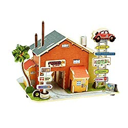 Creative Assemble Puzzle Toys Child Early Education Wooden 3D Puzzle House American Motel