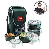 Cello Max Fresh Click Polypropylene Lunch Box Set, 300ml, 4-Pieces, Green