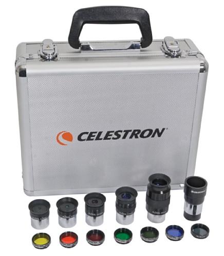 "Celestron Okular und Filter Set 1,25"" Okularset 5 Okulare, Barlowlinse, Mondfilter, 6 Farbfilter, Alu-Koffer"