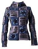 Vishes – Alternative Bekleidung – Mit Blumen bestickte Patchwork Jacke aus Baumwolle, mit Zipfelkapuze grau-schwarz 38