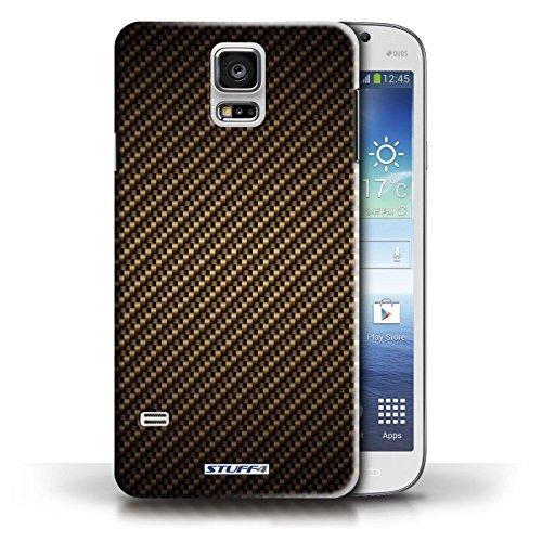 Hülle Case für Samsung Galaxy S5/SV / Lila Entwurf / Kohlenstoff-Faser-Muster Collection Gold