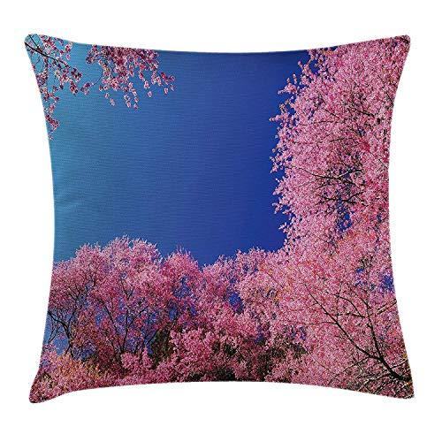 Cherry-gewebe-sofa (Dekokissen KissenbezugCherry Blossom mit klarem Himmel Sunny Day-Landstraßen-Garten-Frühlings-Landschaft Pillow Cushion Cover Pillowcase,45x45 cm)