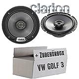 VW Golf 3 - Lautsprecher Boxen Clarion SRG1723R - 16cm Koaxsystem Auto Einbauzubehör - Einbauset