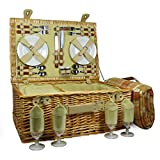 Cesta de picnic de mimbre para 4 personas con accesorios y manta de tartán naranja - Colección Sutton - Ideas de regalo para Navidad, cumpleaños, bodas, aniversarios, negocios y empresas