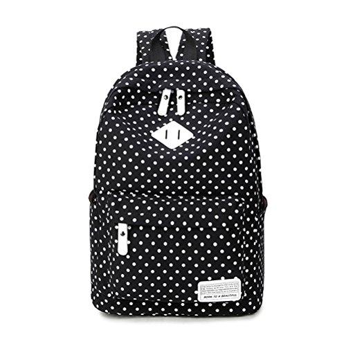 Umily Mochilas Escolares Mujer Backpack Mochila Escolar Lona Grande Unisexo Bolsa Casual Juvenil Chica-Negro tipo B
