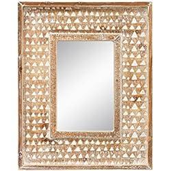 Espejo de pared étnico marrón de madera para dormitoriode 40 x 50 cm Bretaña - Lola Derek