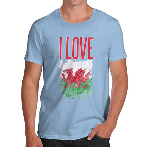 Herren I Love Wales T-Shirt Himmelblau